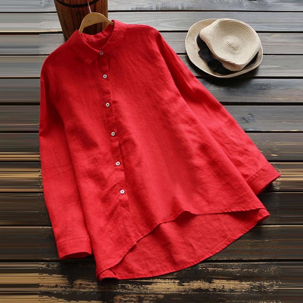 2020 primavera nuevo estilo Diagonal botón antes corto después de largo asimétrico camisa mujeres Retro Casual algodón gran tamaño 5XL camisa mujeres