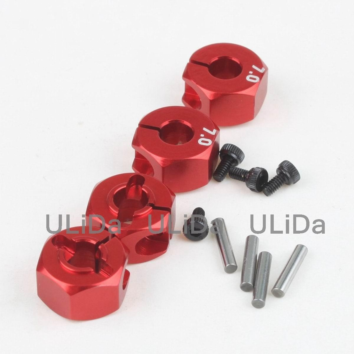 4 Uds. De aleación de aluminio de Metal 7mm de espesor llanta hexagonal adaptador de la impulsión 12MM HSP HPI Tamiya Sakura todo 1/10 RC coche 94123 94122 CS D4