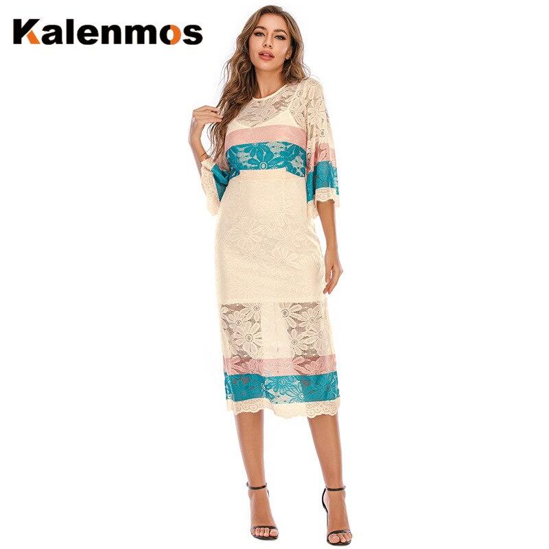 KALENMOS élégant broderie dentelle robe femmes été maille fête 2 Pic robes marocain moyen-orient turquie Sexy deux pièces Vestidos