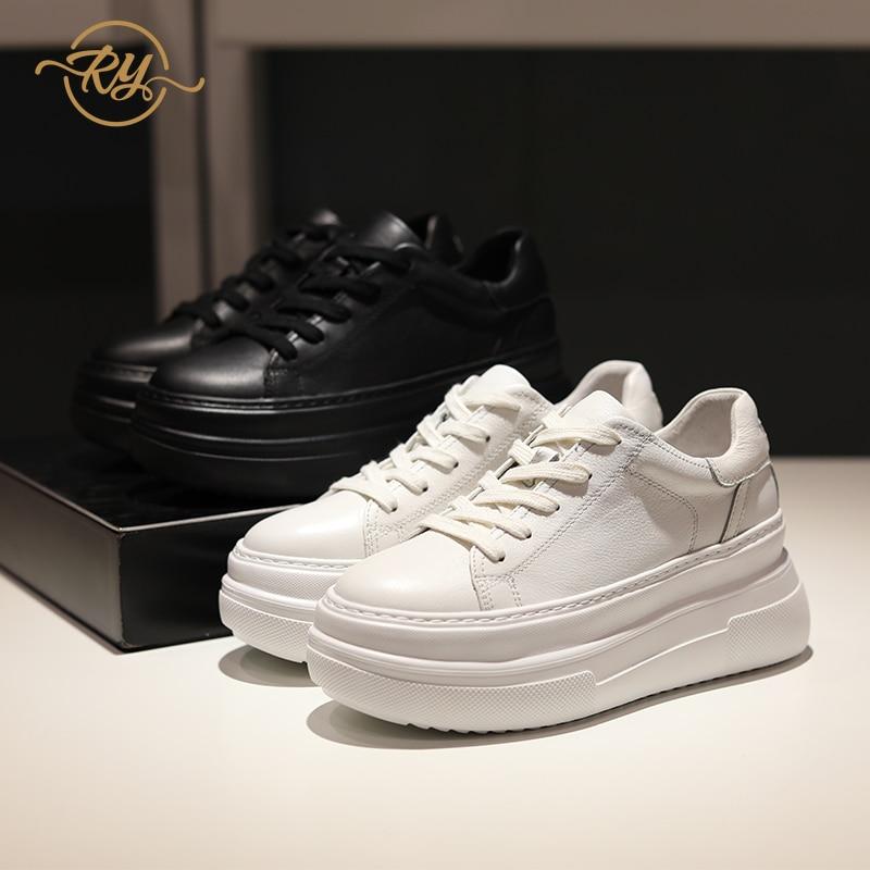 RY-RELAA-حذاء رياضي نسائي من الجلد الطبيعي ، حذاء رياضي أبيض مع إسفين ، غير رسمي ، 2020