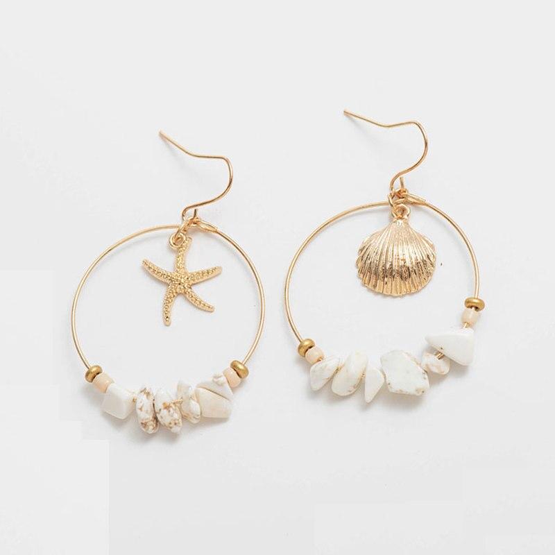 Moda de verano, pendientes de estrella de mar con concha de mar, Pendientes colgantes de círculo dorado para mujer, pendientes redondos con cuentas de piedra, joyería de playa