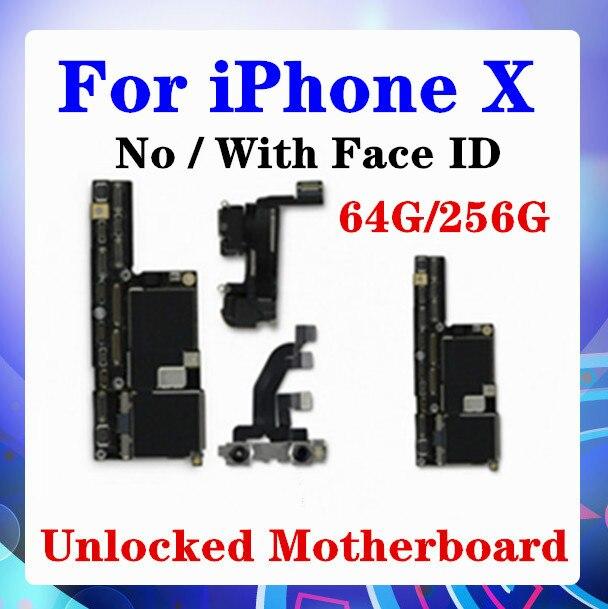 Placa base para iPhone X sin/con sistema de Chip completo desbloqueado Face ID 100% para placa base iPhone X 4G LTE