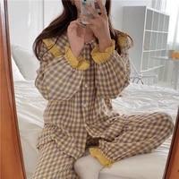 2020 pyjamas autumn sanding korean loose pijamas contrast plaid casual home service women pajamas set sleep wear