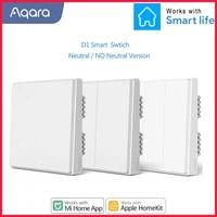 Qara     interrupteur mural intelligent D1  telecommande sans fil Zigbee  fil de feu neutre  bouton 1 2 3  pour application Mijia HomeKit