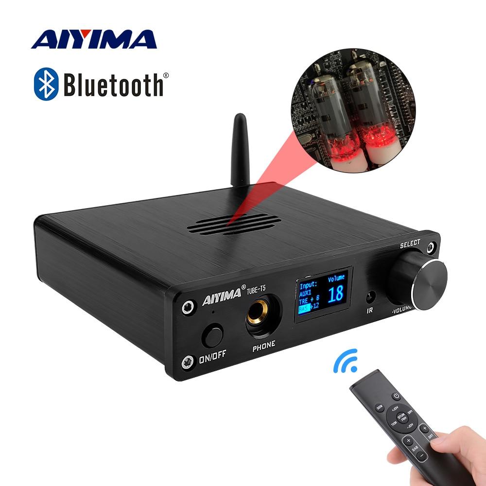 Aiyima t5 6k4 tubo preamp mc33078 bluetooth preamplifier alta fidelidade oled com controle remoto fonte de alimentação amplificador de som em casa teatro