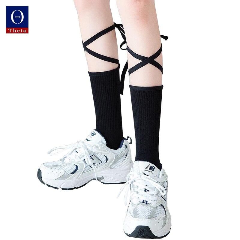 THETA 1pair Fancy White Bandage Socks Girl's Cross Calf Socks Women Sexy Middle Tube Socks Ins Tide Summer Thin Lolita Stockings