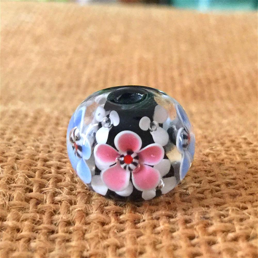 3 pçs 15*17mm grande buraco murano feito à mão lampwork contas de vidro jóias femininas fazendo contas diy flor contas transparentes atacado