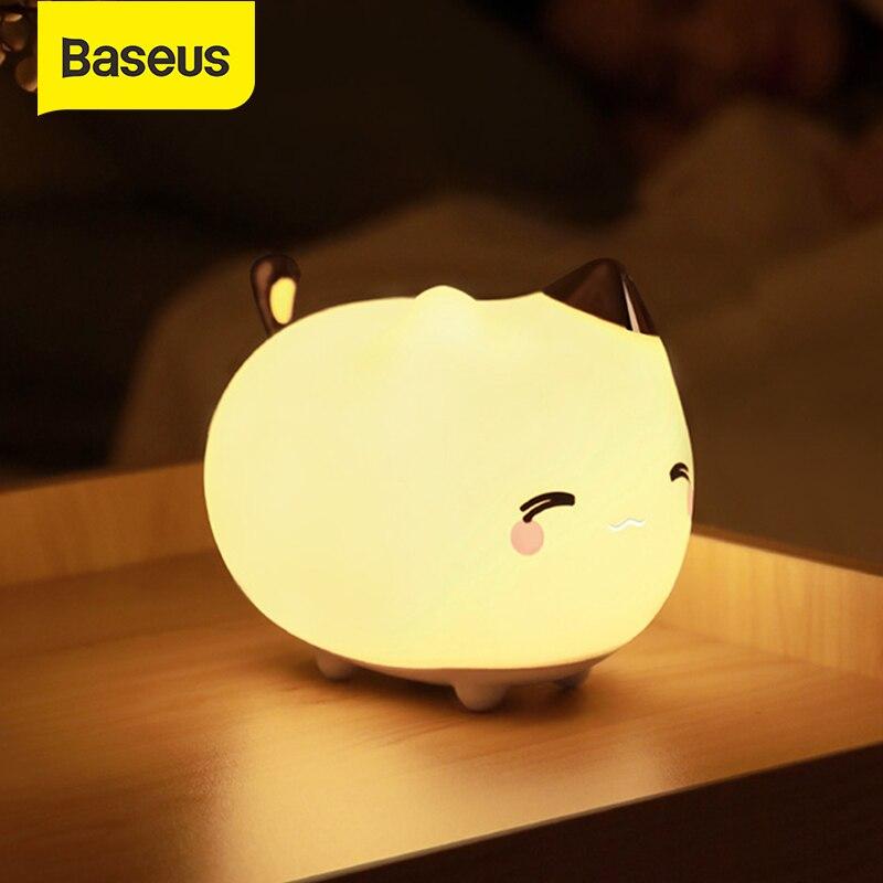 Lámpara de luz nocturna LED recargable Baseus, Sensor táctil, bonito Animal de silicona, luz LED para niños, bebés, regalos, luz de dormitorio