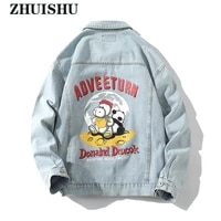 2021 new denim jacket youthful vitality letter patter print male casual streetwear mens buttons coats clothing spring autumn