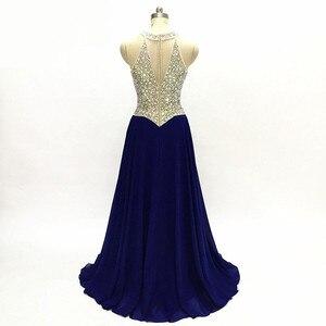 O Neck A Line Blue Chiffon Prom Dresses 2020 Beading Illusion Cheap Long Evening dress For Women платье вечернее robe de soirée