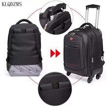 KLQDZMS Roll Rucksack Mit Laptop Tasche 1822Inch Oxford Tuch Reise Koffer Auf Rädern Trolley Gepäck Tasche Für Männer