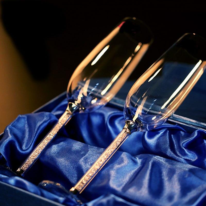 2 قطعة من الزفاف نظارات الشمبانيا نظارات كريستال حزب هدية نخب الزجاج القدح كريستال كوكتيل الزجاج
