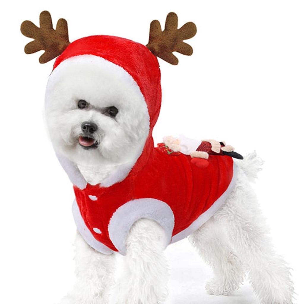 Jersey navideño para perro disfraces de gato divertido disfraz de Santa Claus para perros pequeños ropa de invierno caliente para mascotas Pug Chihuahua gran oferta * 5