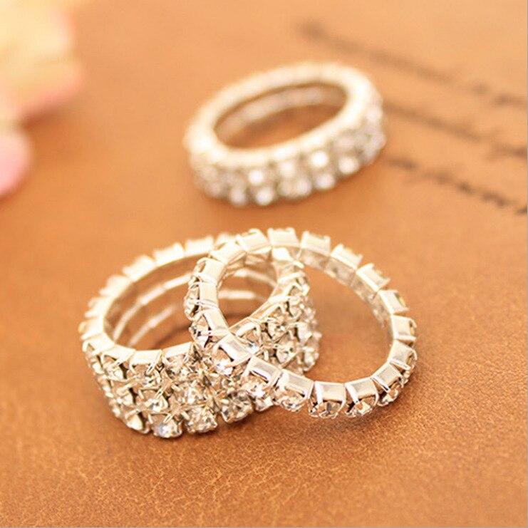 J599 fabricantes de estilo al por mayor de moda coreana crytal-encrusted elástico hipster anillo