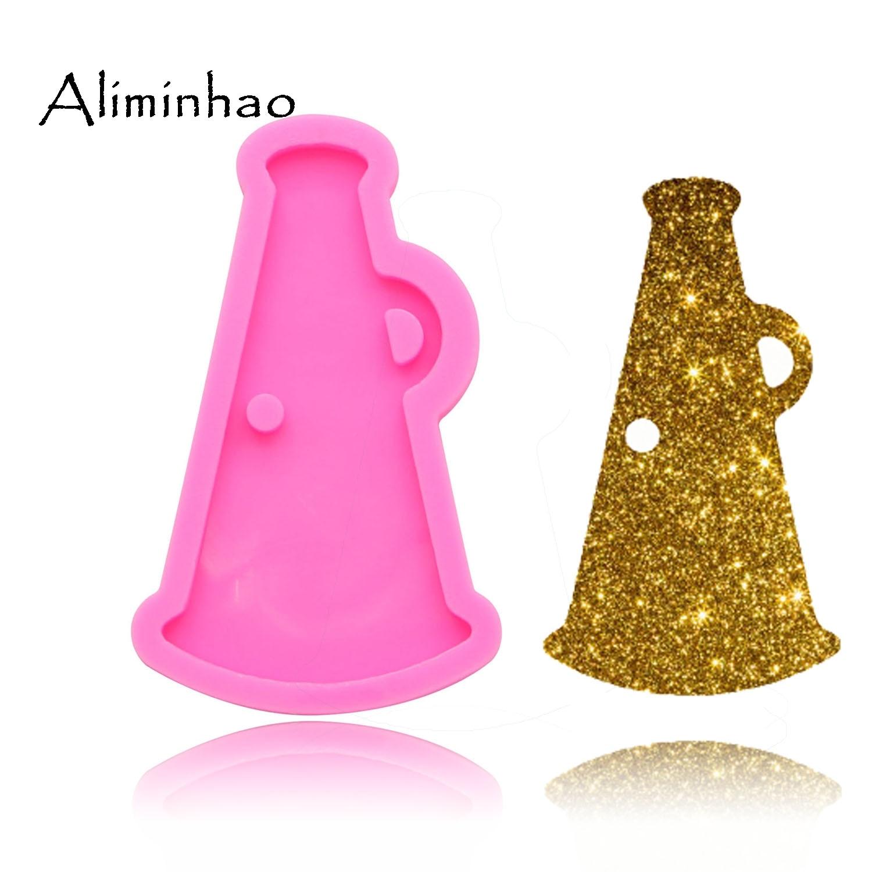 Dy0098 brilhante cheer megaphone chaveiros molde chifre molde de silicone argila diy jóias fazendo brilho resina cola epoxy molde