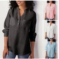 new long sleeve shirt trafaluc za solid color v neck pocket cotton linen loose plus size blouse women camisas de mujer za y2k