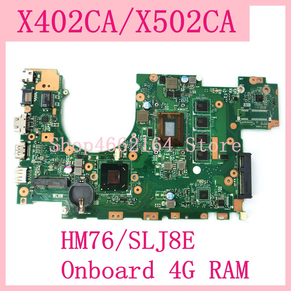Promo X402CA X502CA Motherboard For ASUS X402CA X502CA Mainboard With 1007 Processor HM76/SLJ8E 4G RAM REV 2.1 Motherboard 100%Test OK
