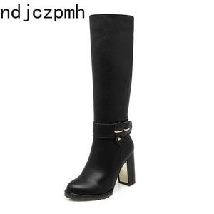 Boots Women Autumn and Winter The New Fashion Round Head Zipper High Heel High Tube Women Shoes Size 34-43 Heel Height 9cm Black