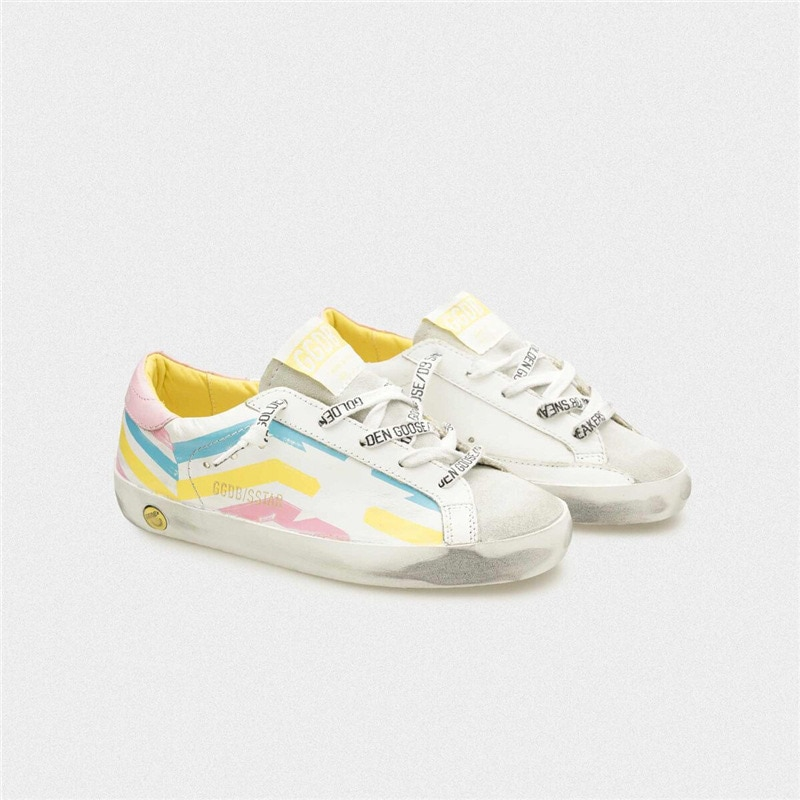 Kids Sneakers Spring and Summer New Color Striped First Layer Cowhide  Old Small Dirty  Boys /Girls Casual Children's Shoes QZ15 enlarge