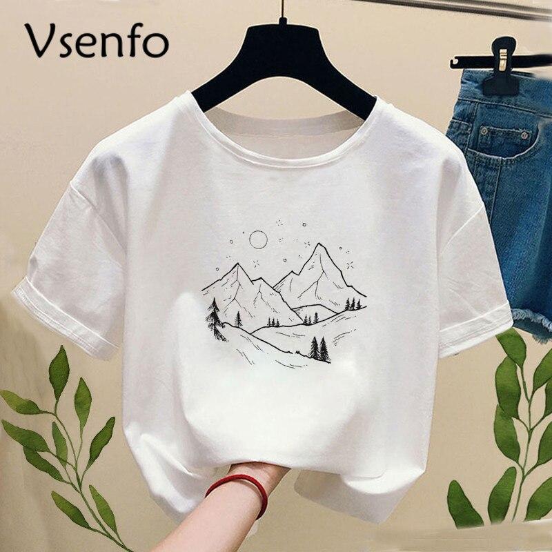 Camiseta de impresión forestal oscura para mujer, camiseta blanca de manga corta con cuello redondo, camiseta blanca para mujer, camiseta de verano universal Harajuku