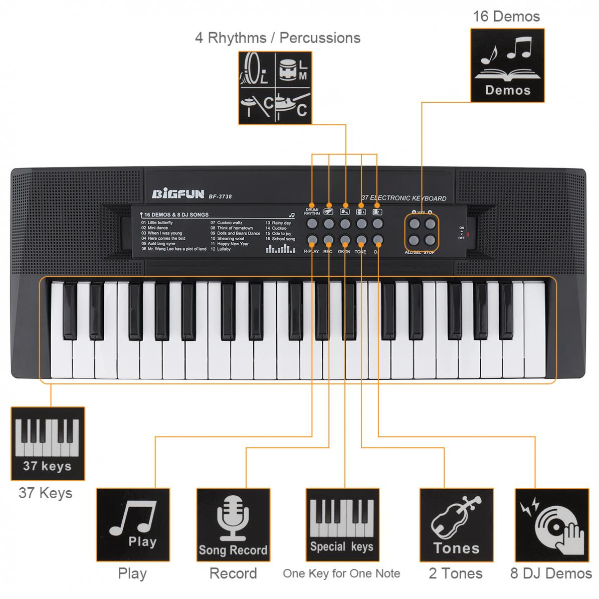 Electronic Keyboard Piano 37 Keys Digital Music Key Board with Microphone Children Gift Musical Enlightenment enlarge