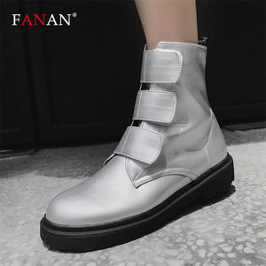 FANAN Autumn Winter Women's Platform Flat Boots Black Silvery Med Heel Ankle Boots For Women Round Toe Female Shoes Big Size