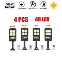 4pcs tabular oblong 48 led solar wall light pir motion sensor waterproof garden solar power lights street path lamp remote contr