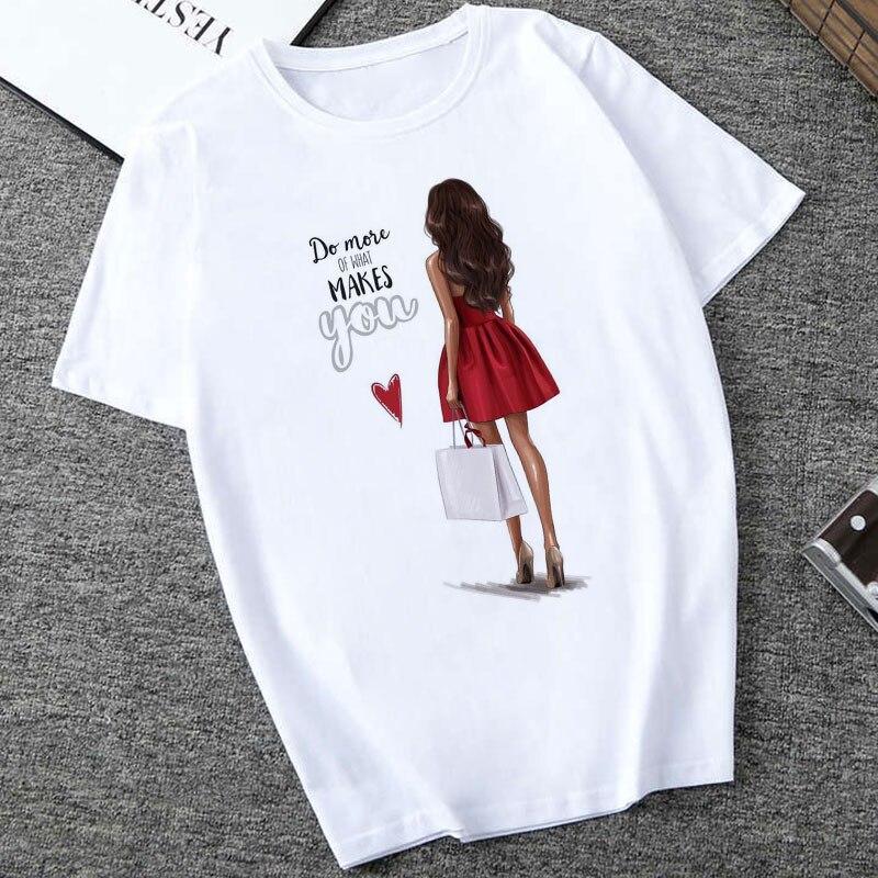 Женские летние топы 2020 Харадзюку Эстетическая тонкая секция Футболка Do Mose Of What making You Happy модная футболка