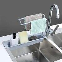 Etagere de rangement suspendue pour evier  support de rangement pour eponge  salle de bains  cuisine  Clip de robinet  tissu de plat  egouttoir organisateur de serviettes seches