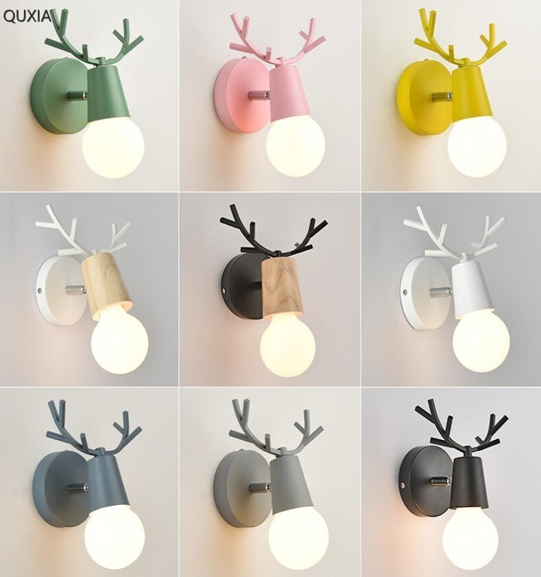 Светодиодная настенная лампа с рогами, цветная деревянная Скандинавская винтажная Современная Лофт для детской комнаты, спальни, гостиной, прикроватная лестница, домашние светильники