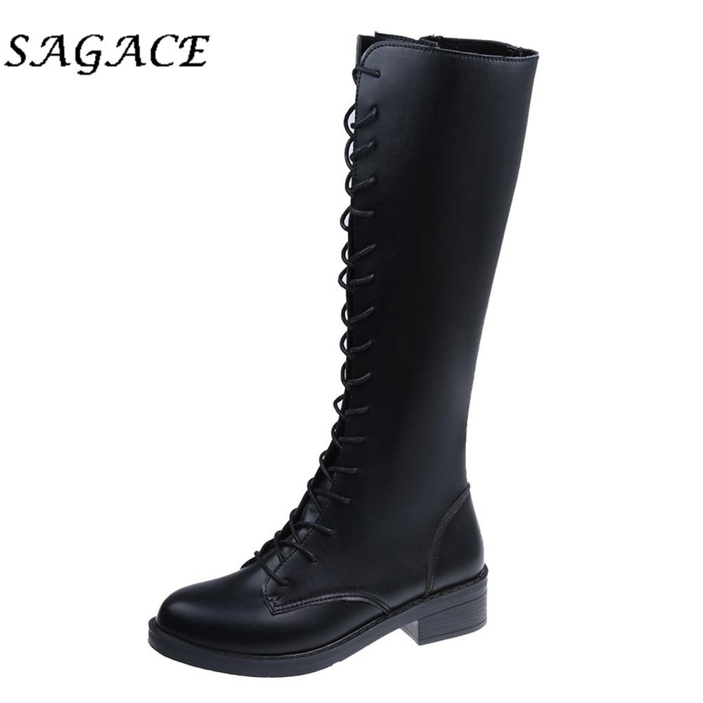 SAGACE punck zapatos de mujer de cuero botas de pierna alta de talla grande zapatos de tacón cuadrado con cordones botas de plataforma de mujer de otoño botas altas