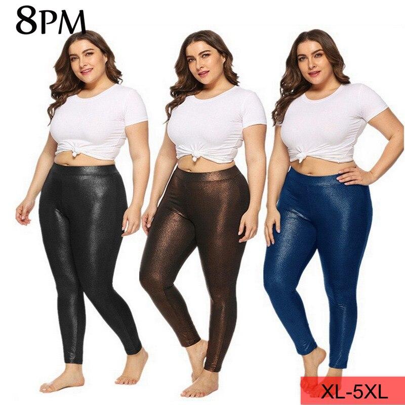 Женские леггинсы размера плюс с эластичной резинкой на талии, обтягивающие штаны для фитнеса 5XL, Сексуальные Спортивные Леггинсы с высокой ...