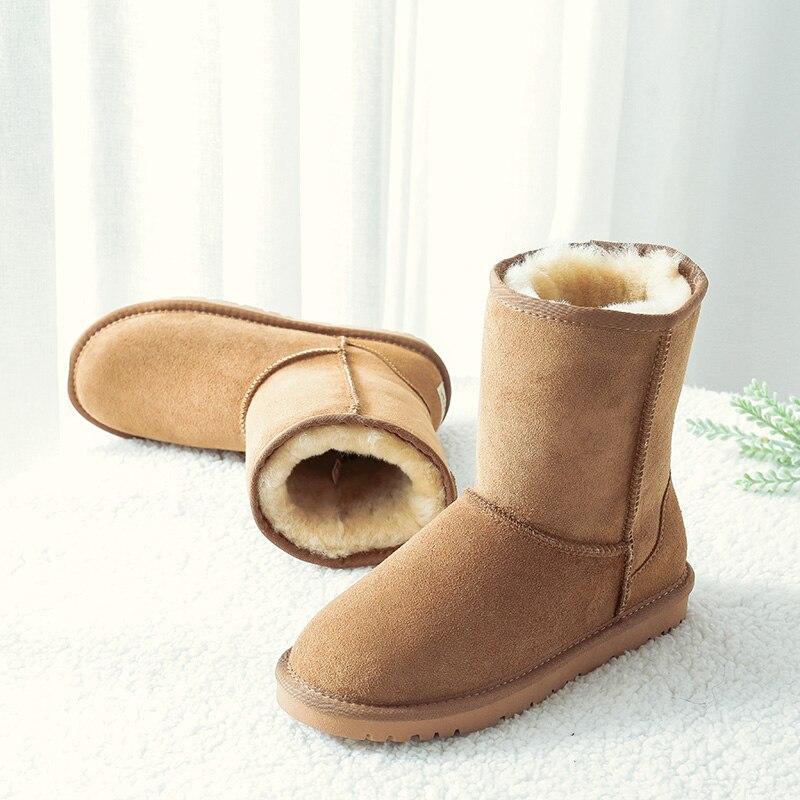 KZZO عالية الجودة موضة المرأة الكلاسيكية الأساسية أستراليا الأحذية جلود الأبقار الأصلية الصوف الطبيعي اصطف الشتاء عدم الانزلاق الأحذية