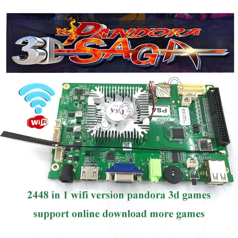 2019 nuevo modelo de soporte WIFI en línea descarga gratuita 2D 3D juego/2448 en 1 con 140 Uds juegos 3D PCB tablero de máquina Arcade HDMI VGA