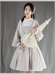 Daily elegant kawaii girl sweet lolita dress vintage stand lantern sleeve lace belt kawaii dress loli cosplay gothic lolita op