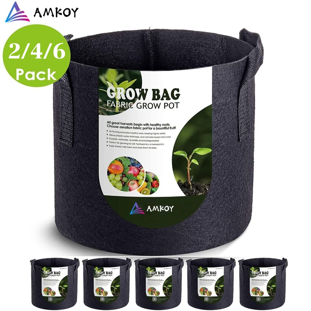 1 2 3 5 7 gallon green plant grow bag non woven fabric vegetable trees flower container cup nursery garden supplies flowerpot AMKOY 1-10 Gallon Fabric Garden Potato Grow Container Bag Plant Seed Growing Bag Flower Pots Vegetable Planter Tool with Handle