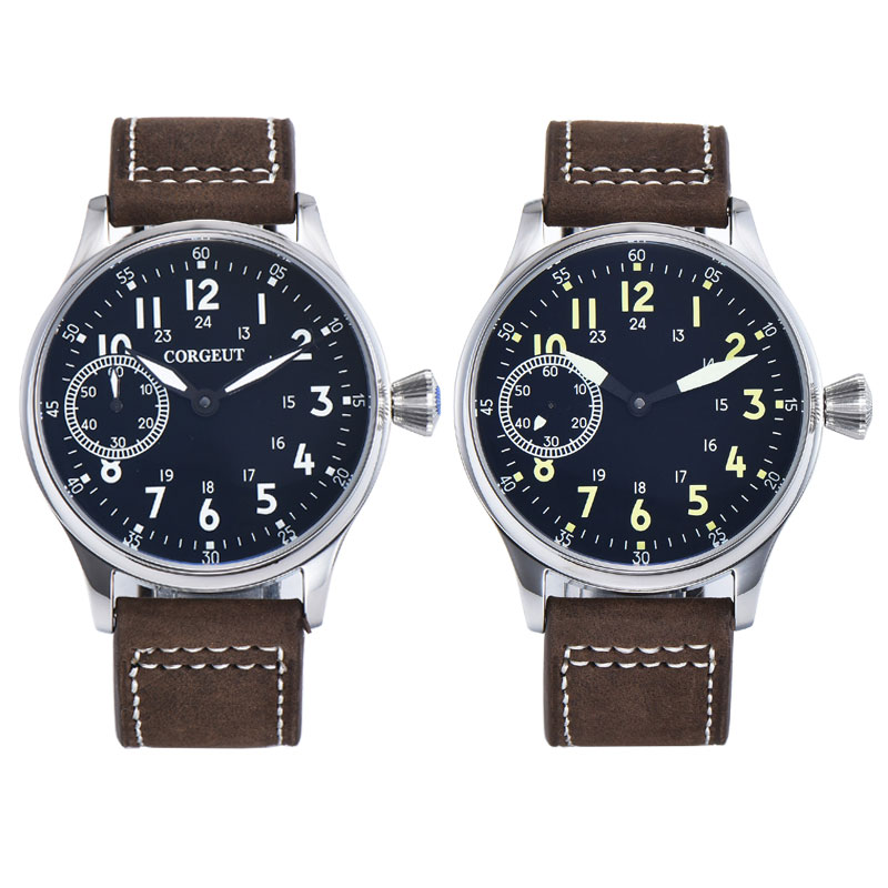 Corgeut-ساعة رجالية ، 44 مللي متر ، قرص أسود ، حركة 6497 ، ST3600 316 ، مقاومة للماء ، يدوية ، ميكانيكية