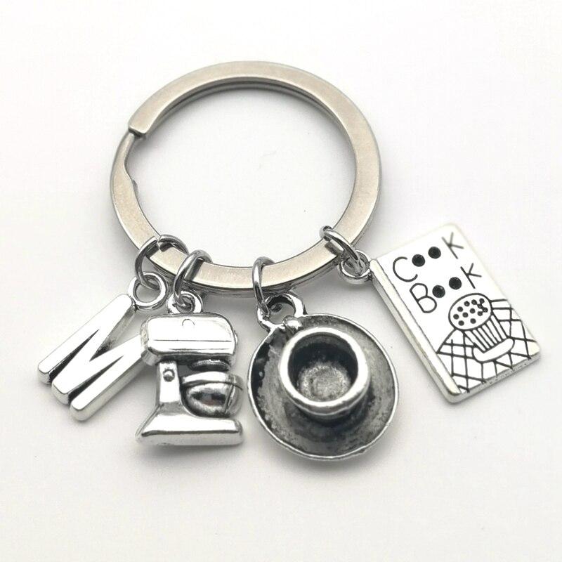 1 Uds., llavero creativo del cocinero del café, taza de café, máquina de café portátil, vajilla, llavero, letras, accesorios para A-Z, regalo