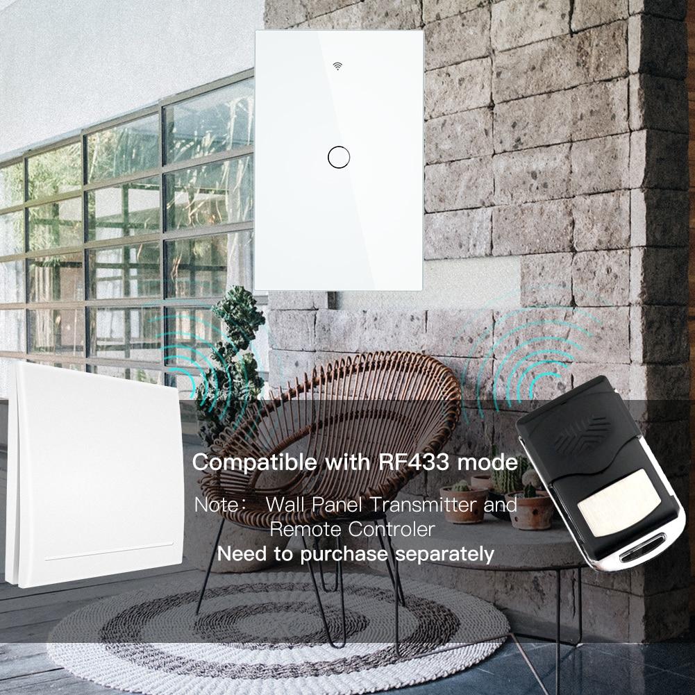 WiFi Smart Wall Light Switch Glass Panel RF433&Wi-Fi Smart Life Tuya APP Remote Control Works With Alexa Google Home 1/2/3 Gang