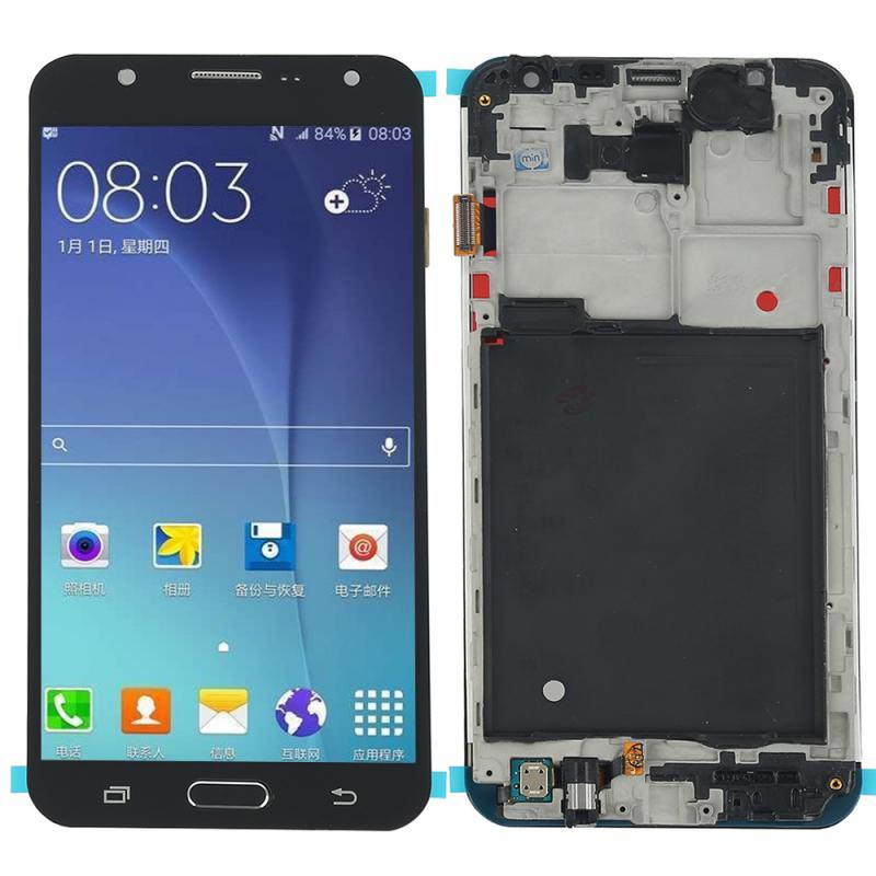 Oled لسامسونج غالاكسي J7 J700M LCD عرض تعمل باللمس محول الأرقام شاشة زجاج الإطار الجديد الهاتف المحمول شاشات LCD لسامسونج