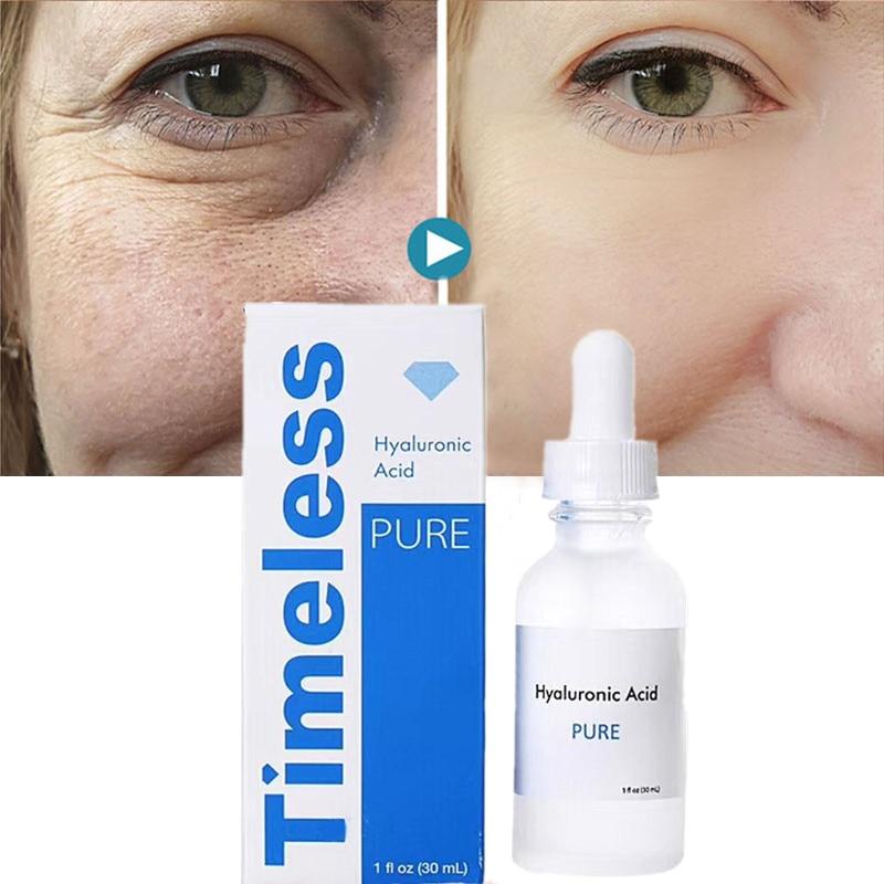 Timeless Hyaluronic Acid Pure Face Serum Anti-Aging Shrink Pore Whitening Moisturizing Essence Face Cream Dry Skin Care 30ml