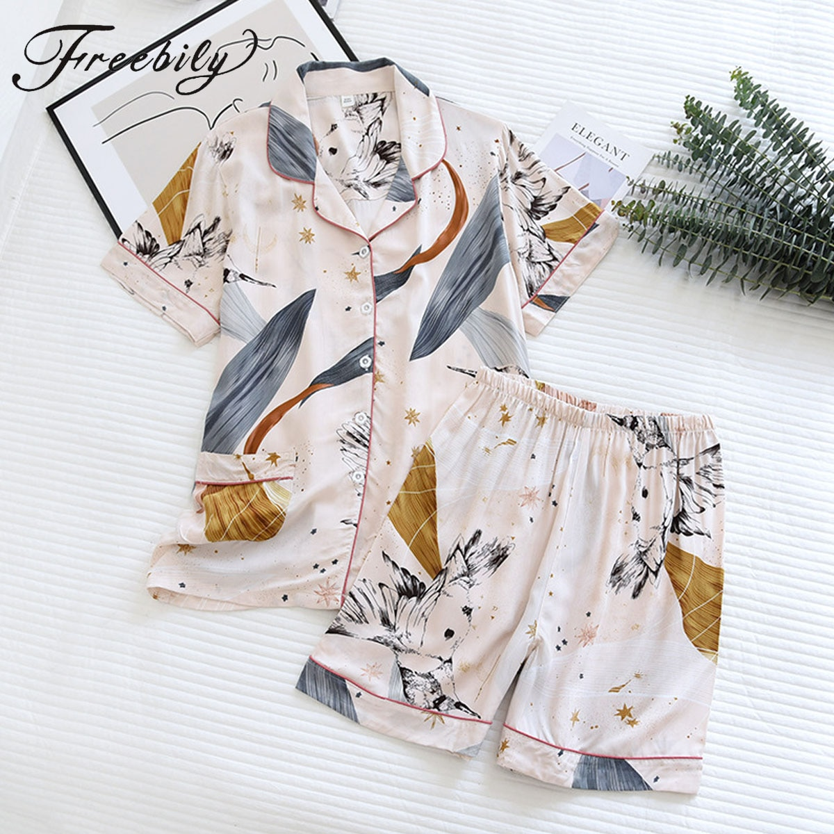 Женский пижамный комплект из двух предметов, хлопковая одежда для сна с цветочным принтом и коротким рукавом, домашняя одежда