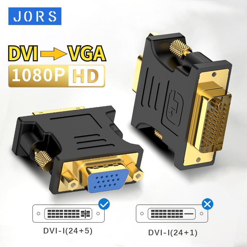JORS DVI To VGA 1080p DVI-I(24+5)  Video Conversion Adapter For Graphics Card HD Tv Pc Projector Mon