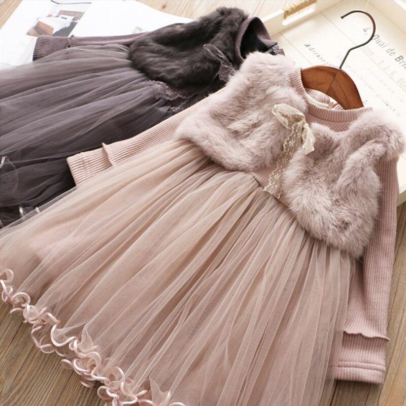 Falso dos vestidos infantiles para niñas Otoño Invierno de manga larga de piel sintética ropa de niños de encaje Bowknot cinturón bebé niña vestido