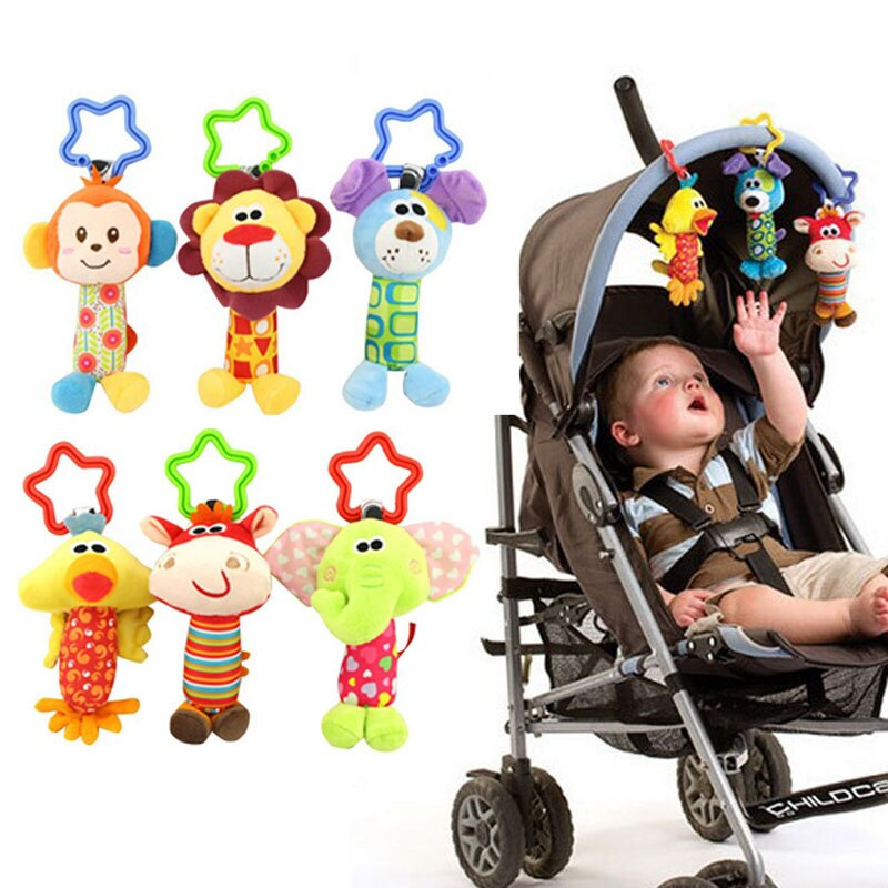 Infant Baby Rattle Hanging Cloth Bed Crib Soft Early Educational Toy Baby Toys Rattle Tinkle Hand Bell Plush Stroller