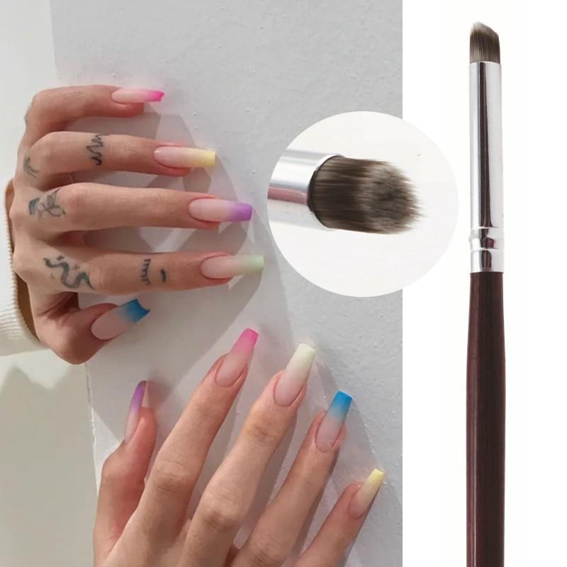 Фото - Nail Art Brush Nails Oblique Mouth Brush Gradient Drawing Pen Paint Brush UV Gel Gradual Painting Pen DIY Nail Art Design Tools gradient art