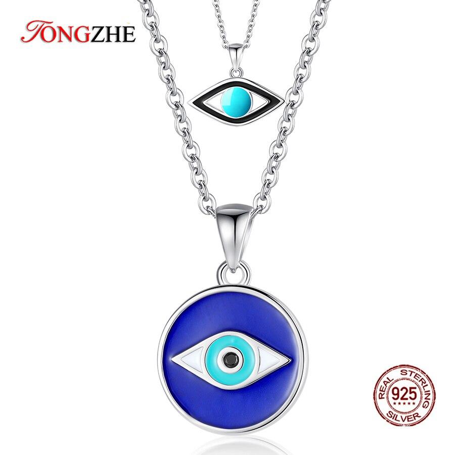 Tongzhe 925 prata esterlina pingente colar feminino jóias pedras azuis lucky evil eye colar pavimentar turquesa olho turquia jóias