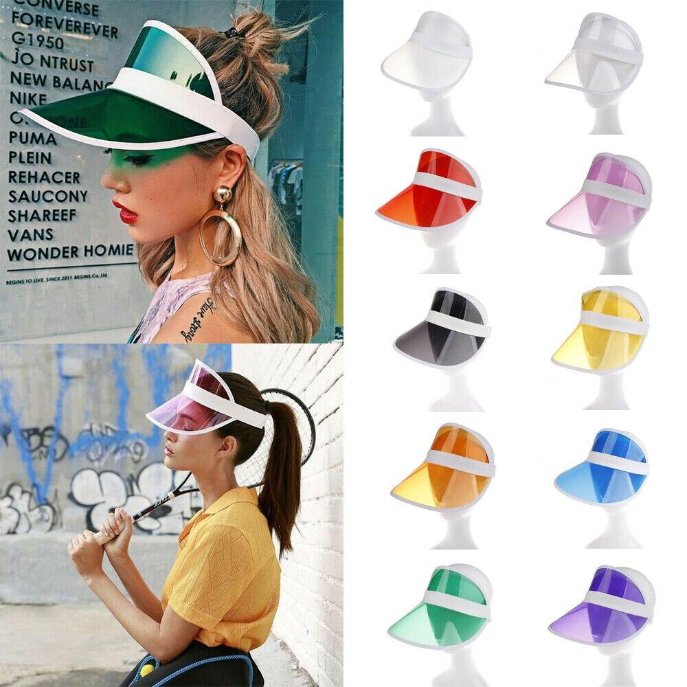New Hot  Women Man Transparent Summer Sun Visor Party Casual Clear Plastic Adult Sunscreen Cap Sunhat Unisex Outdoor Hat