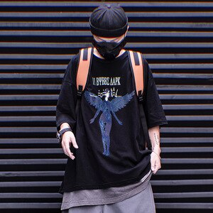 Hip Hop Angel Print T Shirt Men Streetwear Harajuku T-shirts Summer Fashion Oversize Male Casual Short Sleeve Loose Tops Tees
