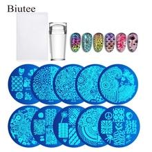 30/10pc ongles plaques + gelée transparente Silicone Nail Art Stamper grattoir avec capuchon estampage modèle Image plaques ongles timbre plaque outil
